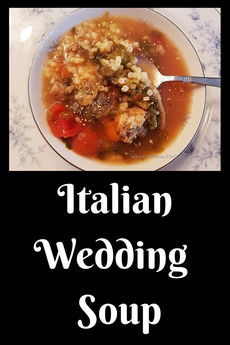 This is a blue bowl etched with sterling silver filled with a bowl of Authentic Traditional Italian Wedding Soup. This is how to make Italian Wedding soup with all fresh ingredients in this bowl of soup. Meatballs, Celery, Carrots, Acini Di Pepi pasta, diced tomatoes in a rich chicken broth homemade from scratch.