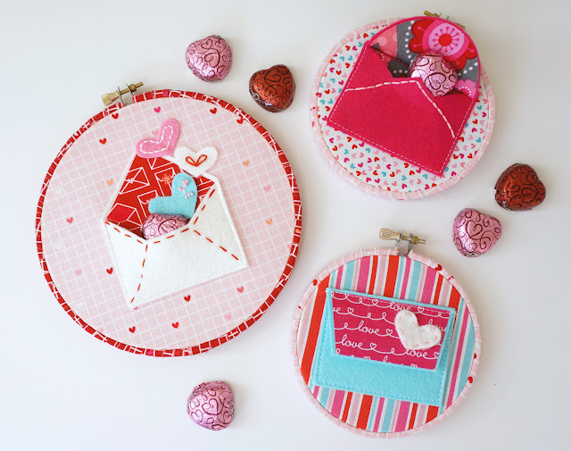 make hoop art with felt envelopes