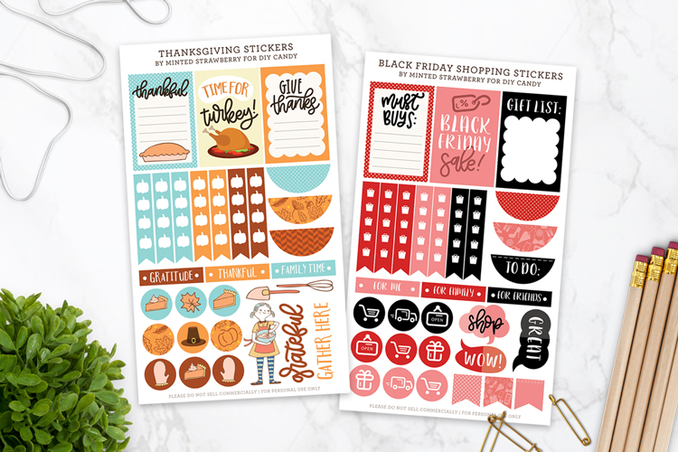planner stickers for thanksgiving and black friday