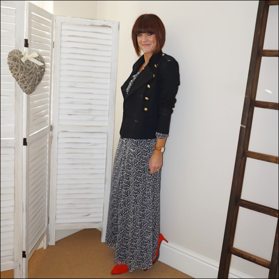 my midlife fashion, isabel marant etoile military jacket, lily and lionel leopard print pussy bow maxi dress, marks and spencer red kitten heel ankle boots