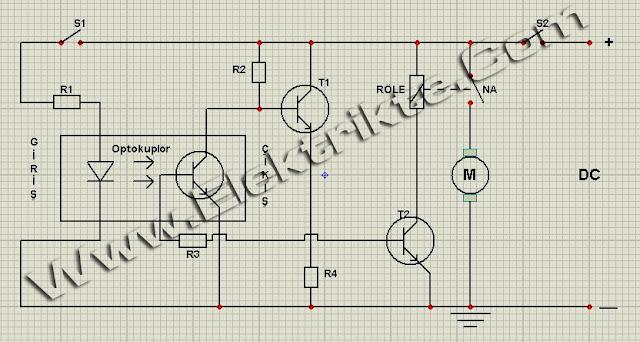 Optokuplör - motor ve röle kontrol devresi