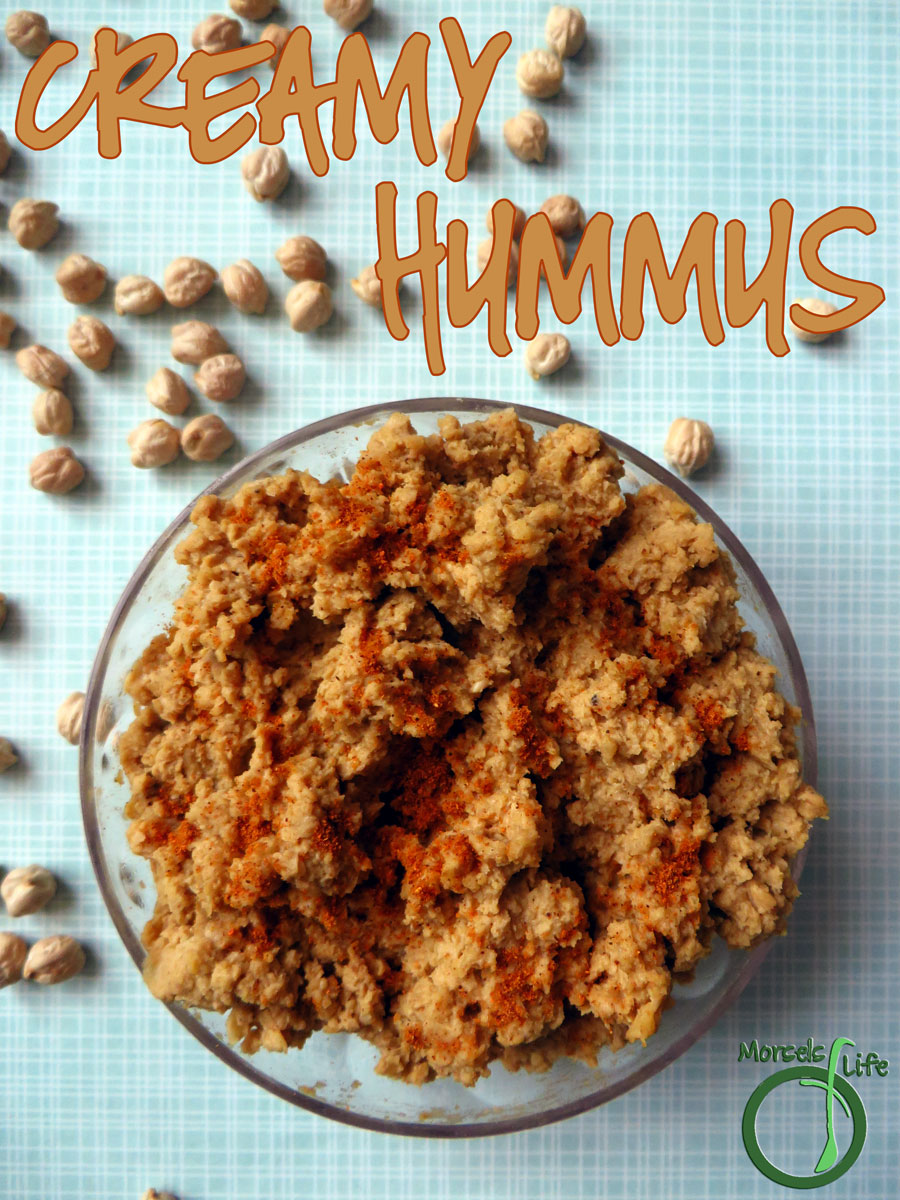 Morsels of Life - Creamy Hummus - A simple and creamy hummus with chickpeas, garlic, tahini, olive oil, and a bit of lemon and paprika.