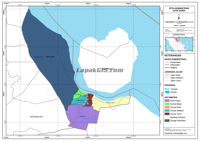 Peta Digital Administrasi Kota Dumai Terbaru