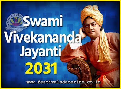 2031 Swami Vivekananda Jayanti Date & Time, 2031 National Youth Day Calendar