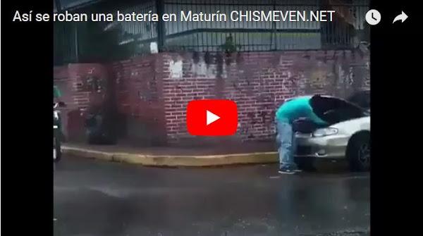 Así se roban una batería de un vehículo en Maturin
