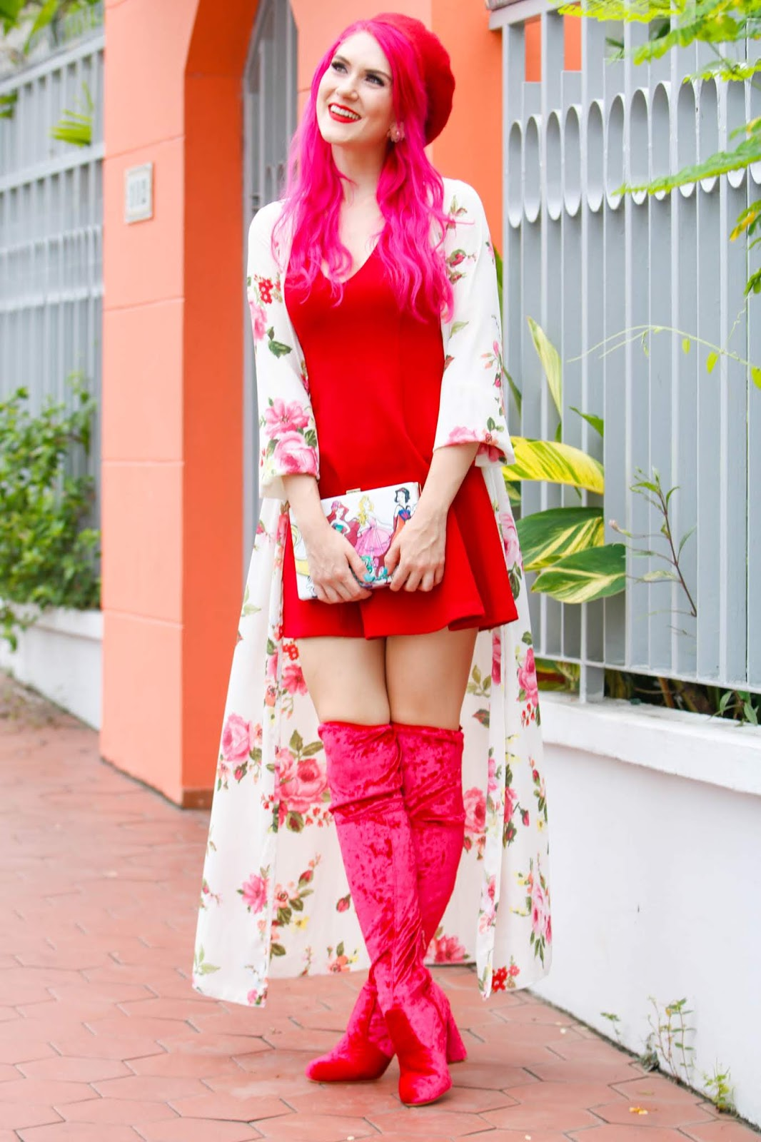 Cute Floral Kimono Outfit