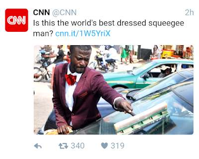 CNN report on world's best dressed squeegee man, showing dignity in labour