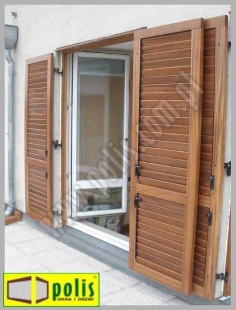 okiennice z drewna egzotycznego,