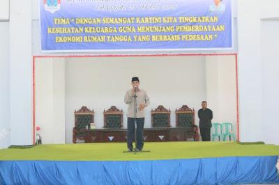 Bupati Lanjar saat memberikan sambutan padaperingatan Hari Kartini.