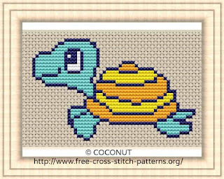 Turtle, Free and easy printable cross stitch pattern