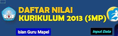 Daftar nilai Kurikulum 2013 SMP
