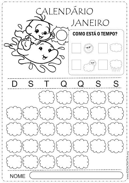 Calendários escolares  janeiro 2019 turma da Mônica baby com e sem numeração para imprimir