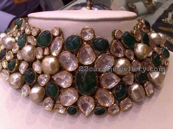 Kundan Emerald Pearl Choker