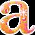 Alfabeto Naranja con Bellas Flores.