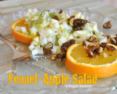 Fennel-Apple Salad with Orange-Zest Candied Black Walnuts ♥ AVeggieVenture.com