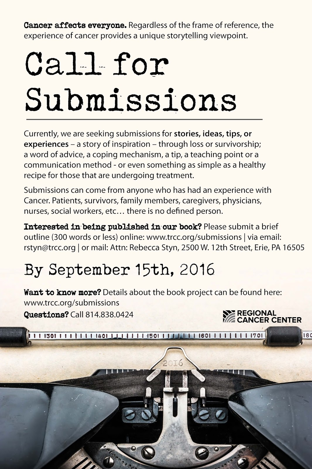 Books Galore, Erie PA: Regional Cancer Center Call for Submissions