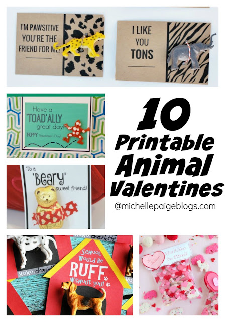 10 Printable Animal Valentines @michellepaigeblogs.com
