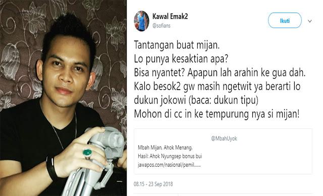 """Ramalkan Jokowi Menang, Netizen Ini Tantang Mbah Mijan Untuk """"Santet"""" Dirinya"""