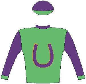 Krambambuli - Jockey Silks - Grass green, indigo horseshoe, gold trim, indigo collar, sleeves and cap, grass green cuffs and peak - Horse Racing - South Africa