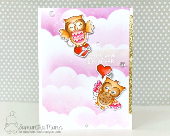 Owl Valentine Card by Samantha Mann | Love Owl-ways Stamp Set and Tumbling Hearts Stencil by Newton's Nook Designs #newtonsnook #handmade