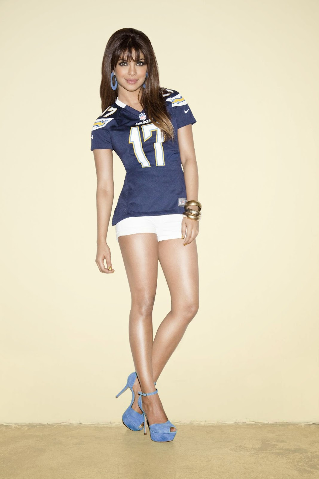Priyanka Chopra in Flaunting Sexy Legs in NFL Jersey & Hot-pants