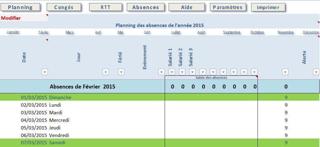 Excel - Planning Absences Salariés