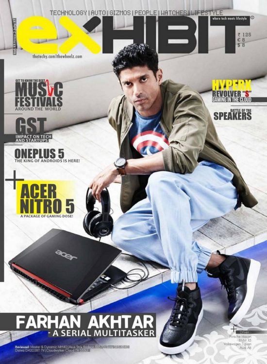 Farhan Akhtar On The Cover of Exhibit Magazine India July 2017