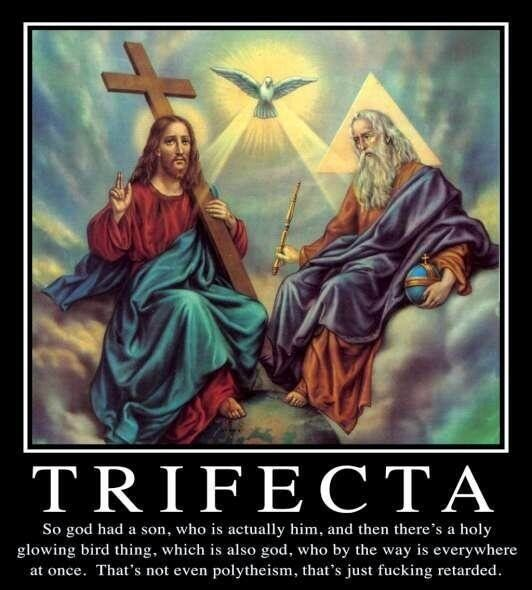 Funny Trifecta God Trinity Meme Joke Picture