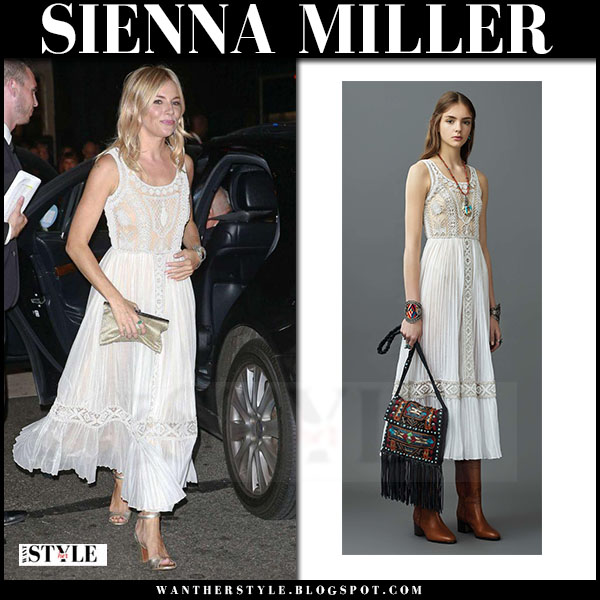 Sienna Miller in white lace midi dress valentino at cartier event what she wore