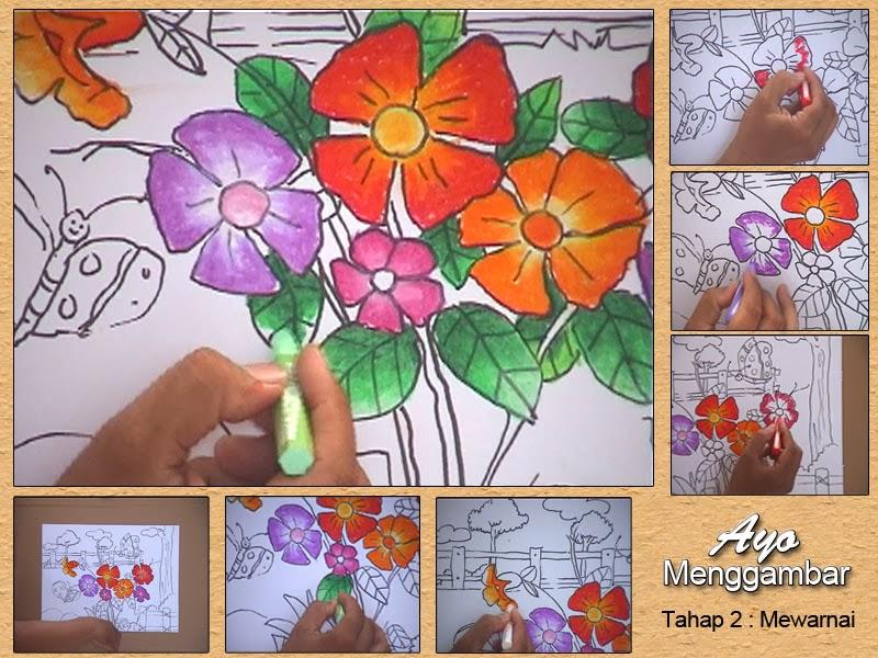 Belajar Menggambar Menggambar Bunga Tehnik Crayon