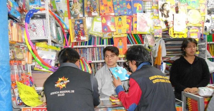 Autoridades incautan productos escolares que se vendían en ferias escolares sin registro sanitario en Arequipa