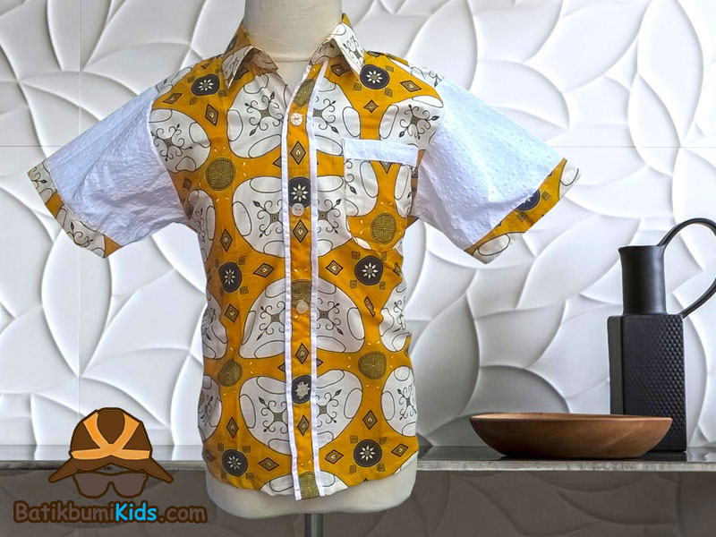 Kemeja Batik Anak Motif Kawung Modern