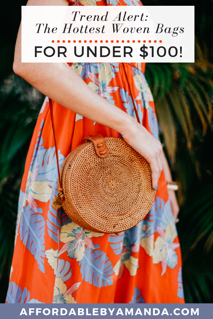 affordable by amanda shares her favorite round rattan woven crosbody bags for under $100. this spring bag is very popular for the season and is a super trendy to style as the rattan crossbody is seen on Instagram.