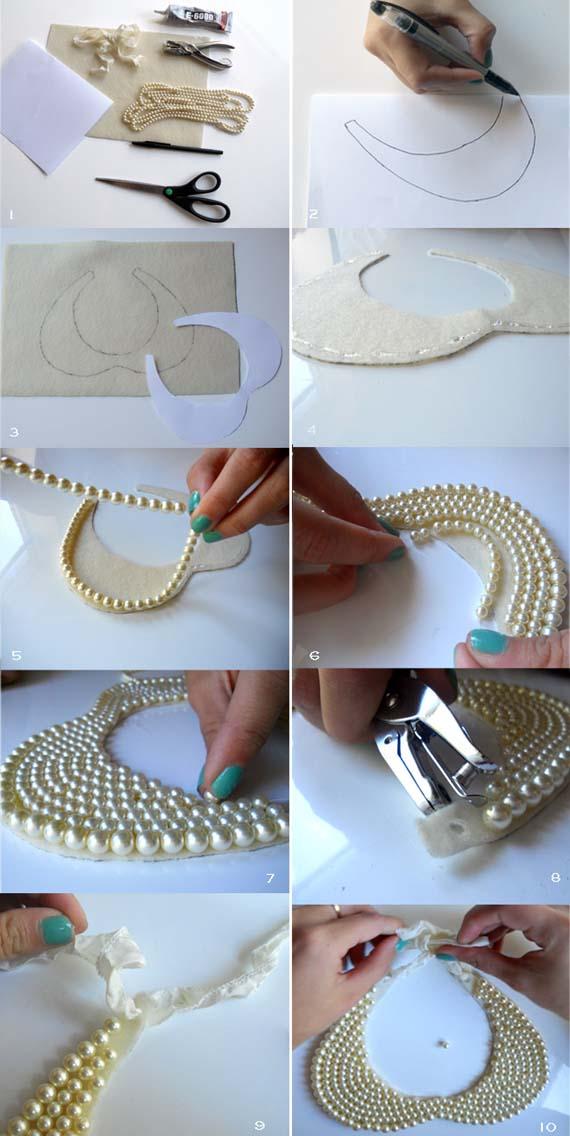 DIY+Pearl+Collar+Necklace+steps.jpg (570×1136) | Estilismos ...