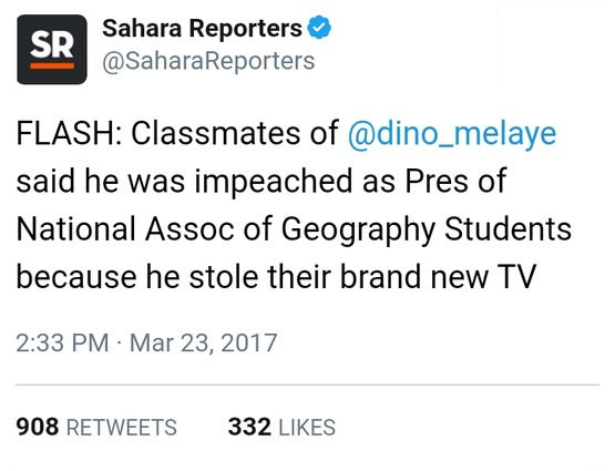 Dino Melaye stole TV set in school leading to impeachment at ABU Zaria