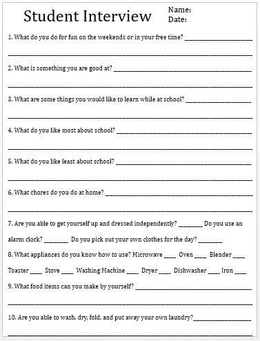 Empowered By THEM: Student Interview Answer Sheet