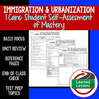 American History I Cans, Student Self-Assessment of Mastery, Immigration and Urbanization