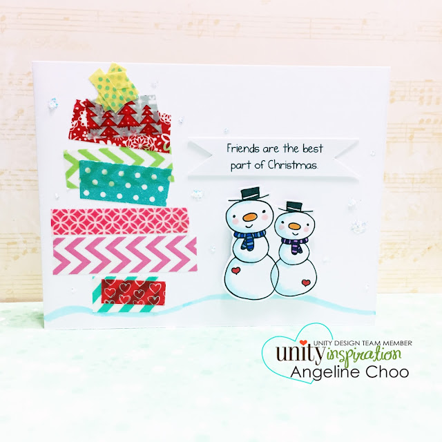 ScrappyScrappy: Unity Stamp Brown Thursday hop - Christmas card Washi Xmas Tree #scrappyscrappy #unitystampco #stamp #copic #christmas #snowman #washi #card #christmascard