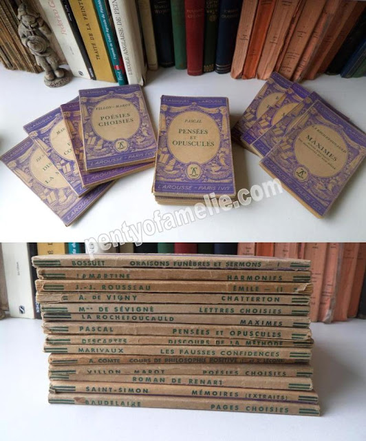 Back-to-School Season, find out more about French Vintage Violet Purple Softback Books, set of Fourteen renowned authors collection.