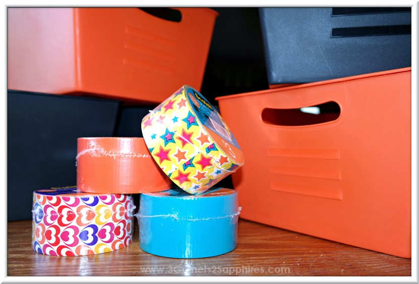 Dollar Section Duck Tape Storage Bin Craft How-To  |  www.3Garnets2Sapphires.com