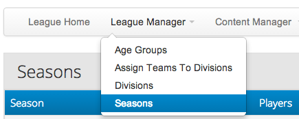 Create League Registrations