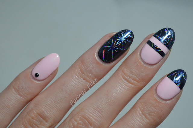 foil holographic pink bornprettystore colourblock striping tape nails