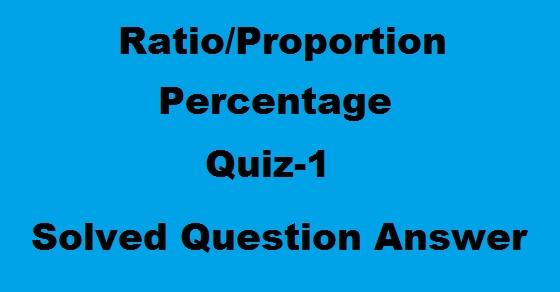 Ratio proportion percentage quiz