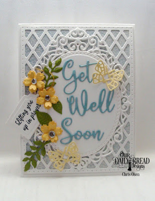 Our Daily Bread Designs, designed by Chris Olsen, Stamps: Get Well Wishes  Dies: Bitty Blossoms, Ornate Ovals, tag trio, Oval Stitched Rows, Get Well Soon, Bitty Butterfly  Paper: Shabby Rose 6x6 Paper Collection