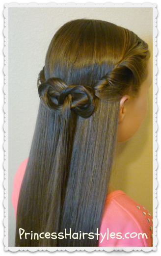 Half Up Tie Back Hairstyle With Knot