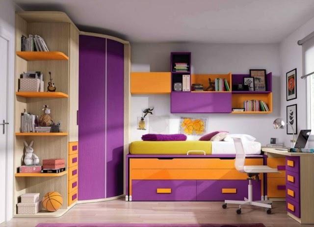 Habitaci n en naranja y lila dormitorios colores y estilos for Dormitorios juveniles con armario esquinero