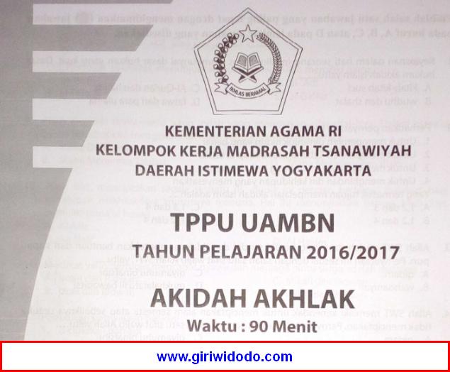 Soal Tppu Uambn Mts Diy 2017 Aqidah Akhlak Giri Widodo