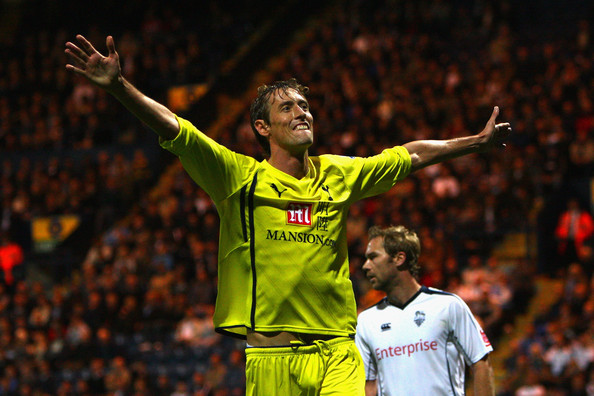 Peter Crouch of Tottenham Hotspur celebrates scoring his team's third goal during the Carling Cup Third round match between Preston North End and Tottenham Hotspur at Deepdale on September 23, 2009 in Preston, United Kingdom