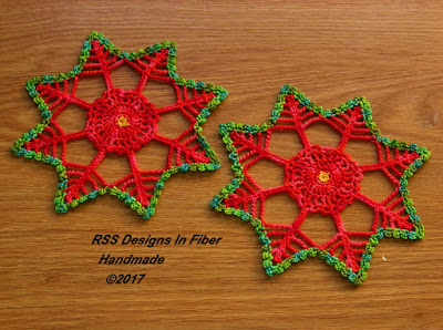 Poinsettia Crochet Coasters in Bright Red and Green - Handmade By Ruth Sandra Sperling at RSS Designs In Fiber