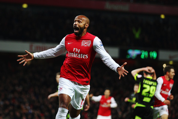 Thierry Henry of Arsenal celebrates scoring during the FA Cup Third Round match between Arsenal and Leeds United at the Emirates Stadium on January 9, 2012 in London, England